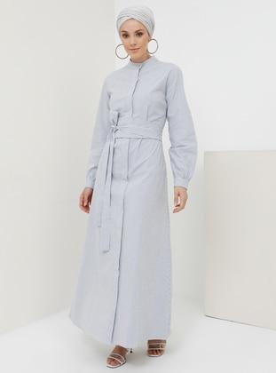 White - Blue - Stripe - Button Collar - Unlined -  - Dress