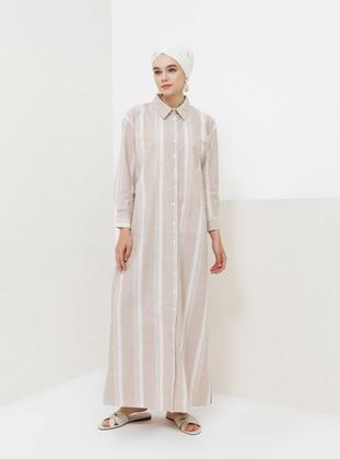 Camel - Stripe - Point Collar - Unlined - Cotton - Dress