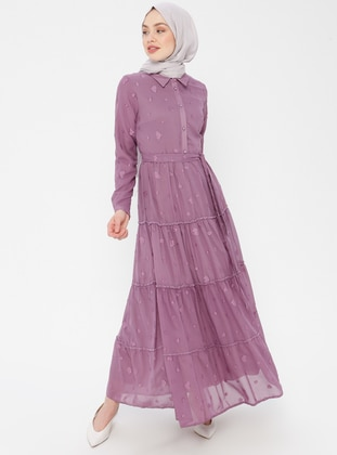 Lilac - Heart Print - Point Collar - Fully Lined - Cotton - Dress