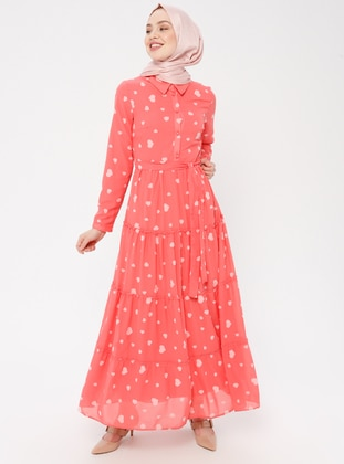 Coral - Heart Print - Point Collar - Fully Lined - Cotton - Dress