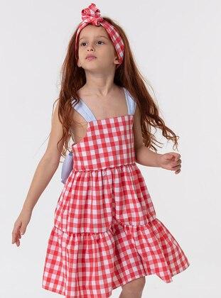 Checkered - Sweatheart Neckline - Cotton - Red - Girls` Dress