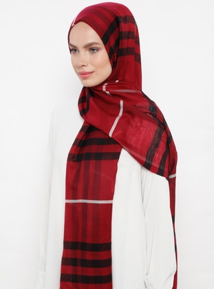 Maroon - Plaid - Silk Blend - Cotton - Shawl