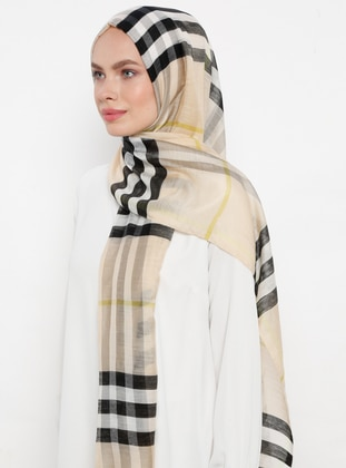 Cream - Plaid - Silk Blend - Cotton - Shawl