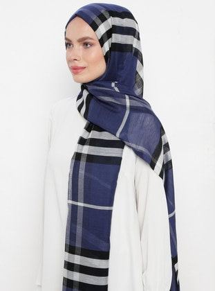 Navy Blue - Plaid - Silk Blend - Cotton - Shawl