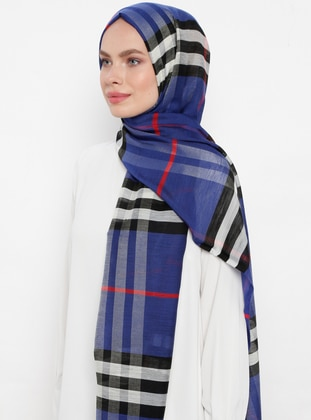 Saxe - Plaid - Silk Blend - Cotton - Shawl