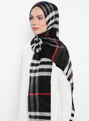 Black - Plaid - Silk Blend - Cotton - Shawl