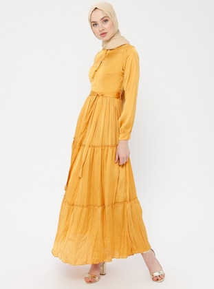 Mustard - Crew neck - Fully Lined - Cotton - Dress
