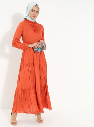 Terra Cotta - Crew neck - Fully Lined - Cotton - Dress