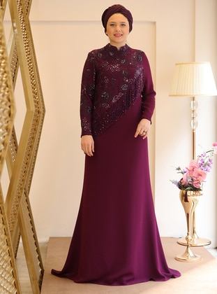 Plum - Fully Lined - Muslim Evening Dress