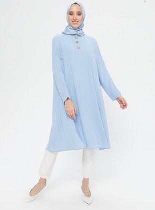 Blue - Button Collar - Tunic