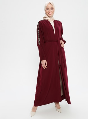 Maroon - Unlined - Shawl Collar - Abaya
