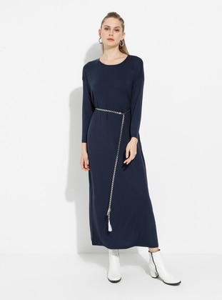 Navy Blue - Crew neck - Unlined - Cotton - Dress