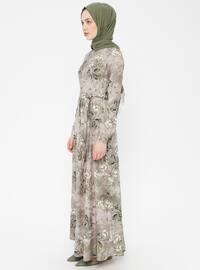 Green Almond - Multi - Crew neck - Unlined - Cotton - Dress