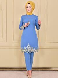 Blue - Unlined - Crew neck - Muslim Evening Dress