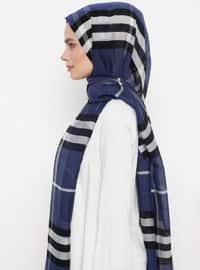 Navy Blue - Plaid - Silk Blend - Cotton - Shawl