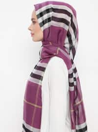 Purple - Plaid - Silk Blend - Cotton - Shawl