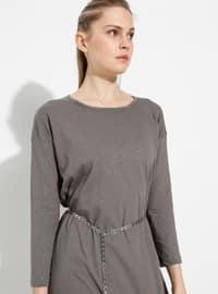 Vizon - Yuvarlak yakalı - Astarsız kumaş - Pamuk - Elbise