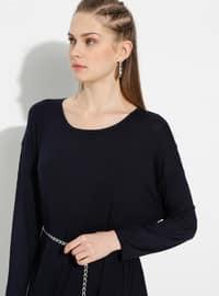 Lacivert - Yuvarlak yakalı - Astarsız kumaş - Pamuk - Elbise