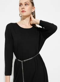 Siyah - Yuvarlak yakalı - Astarsız kumaş - Pamuk - Elbise