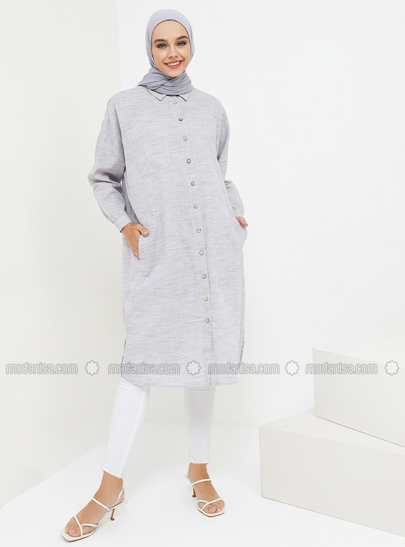 Plum - Point Collar - Cotton - Tunic