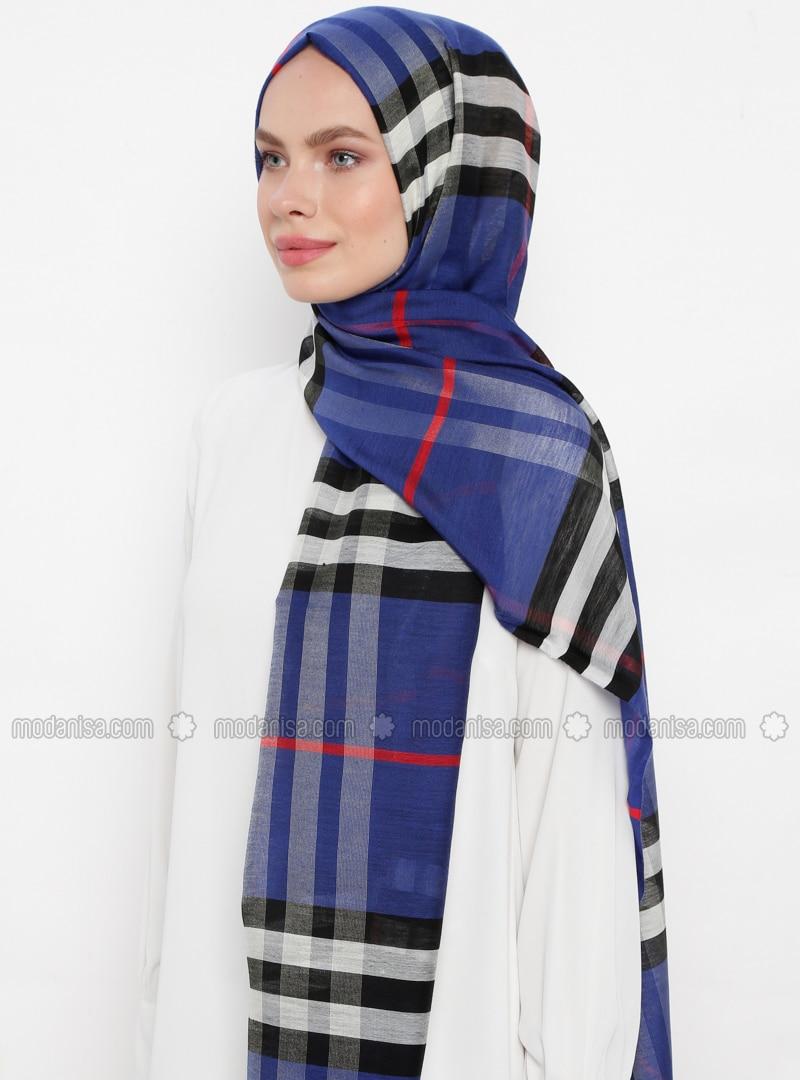 Saxe - Plaid - Silk Blend - Cotton - Shawl