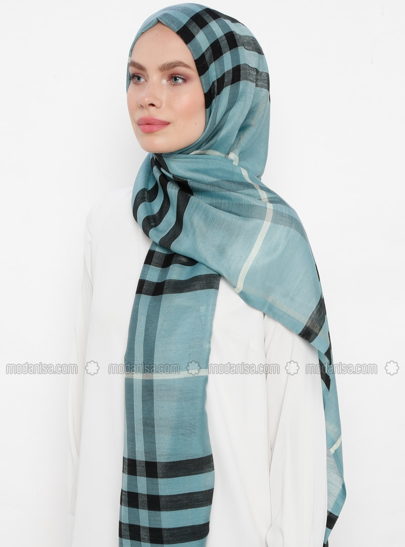 Green - Plaid - Silk Blend - Cotton - Shawl