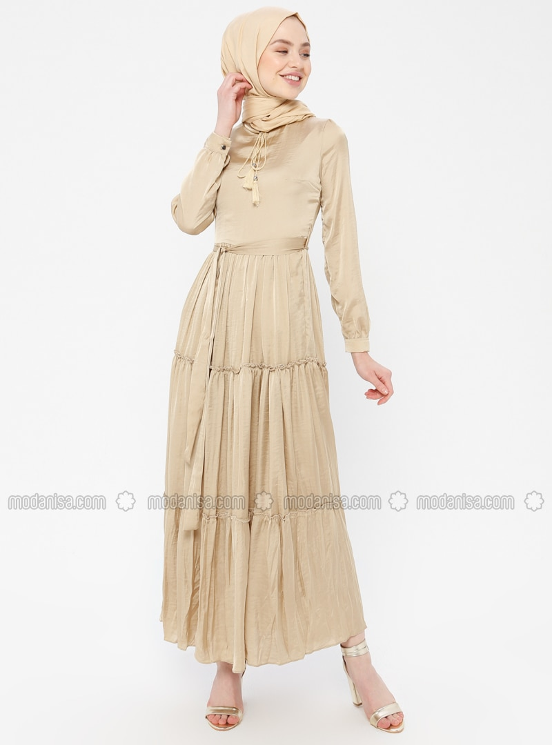 Mink - Crew neck - Fully Lined - Cotton - Dress