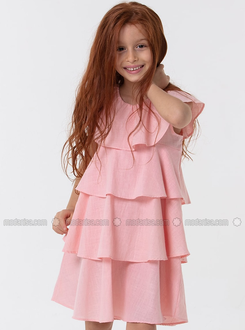 Crew neck - Cotton - Pink - Girls` Dress