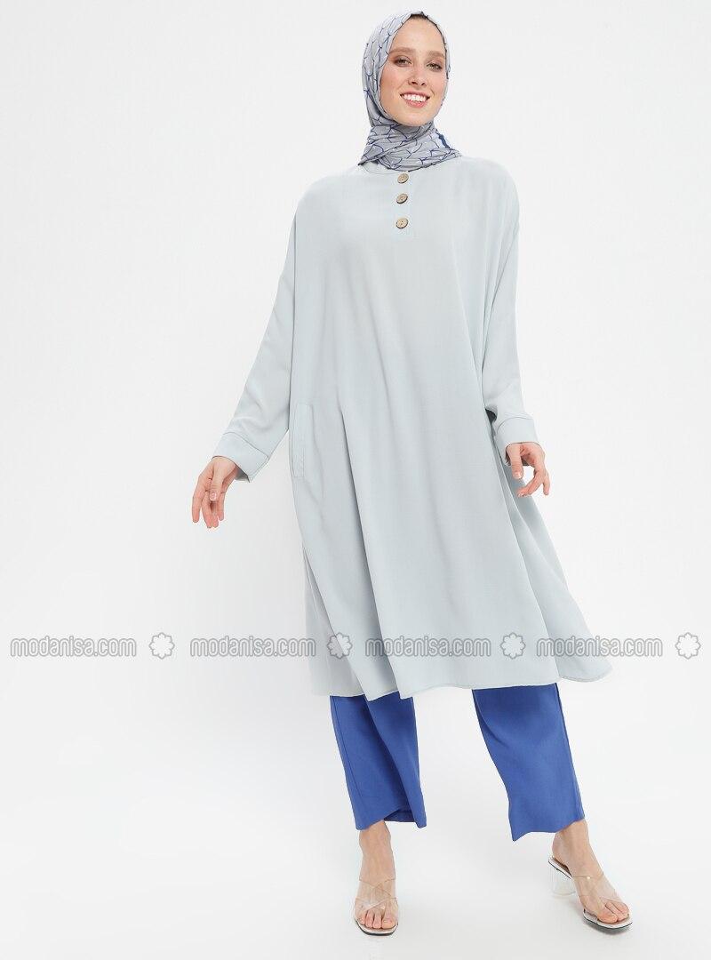 Gray - Button Collar - Tunic