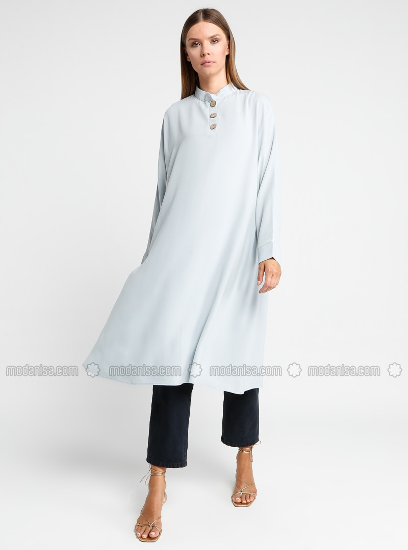Gray - Button Collar - Tunic