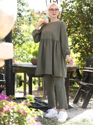 Khaki - Unlined - Cotton - Suit - İnşirah