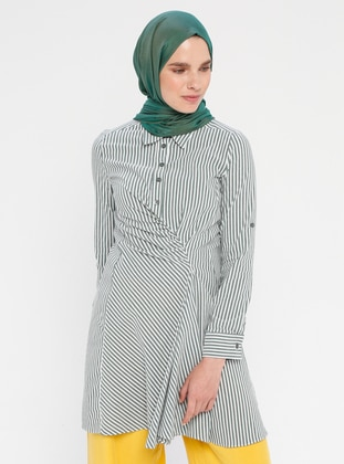 Khaki - Stripe - Point Collar - Unlined - Cotton - Nylon - Dress