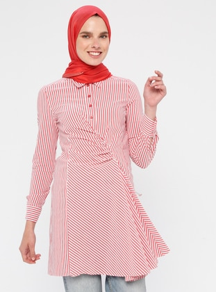 Red - Stripe - Point Collar - Unlined - Cotton - Nylon - Dress