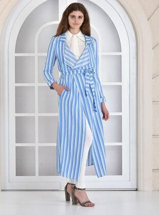 Blue - Stripe - Shawl Collar - Trench Coat