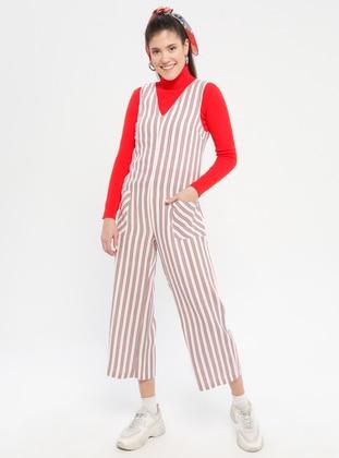Red - Stripe - Fully Lined - V neck Collar - Jumpsuit