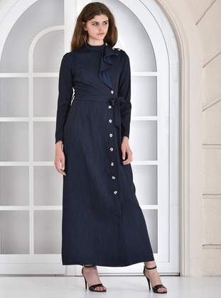 Navy Blue - Crew neck - Dress