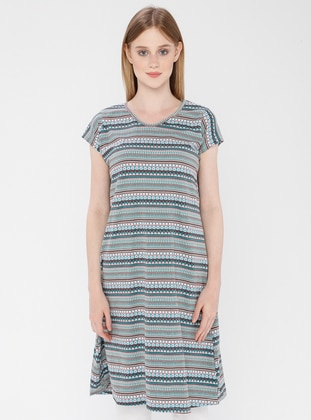 Blue - Cotton - Loungewear Dresses