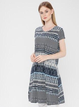 Blue - Navy Blue - Cotton - Loungewear Dresses