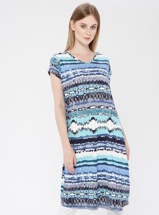 Turquoise - Cotton - Loungewear Dresses