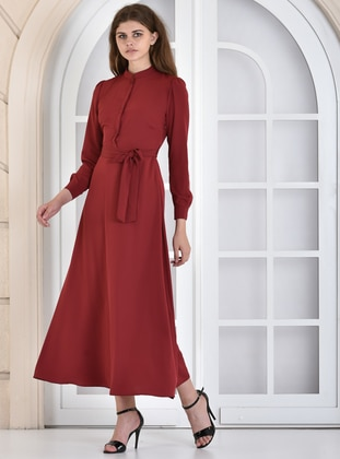 Maroon - Crew neck - Dress