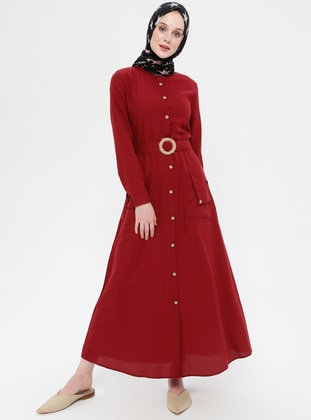 Maroon - Point Collar - Unlined - Linen - Dress