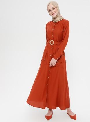 Terra Cotta - Point Collar - Unlined - Linen - Dress