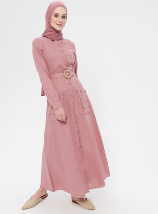Powder - Point Collar - Unlined - Linen - Dress
