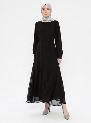 Black - Black - Crew neck - Fully Lined - Dress