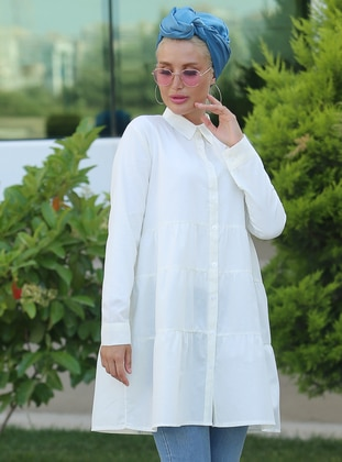 Cream - Point Collar - Cotton - Tunic