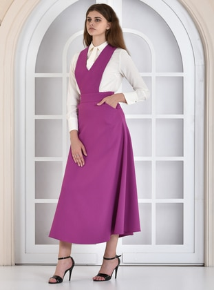 Purple - V neck Collar - Dress
