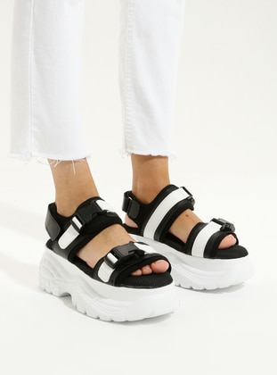 Black - White - High Heel - Sandal - Sandal