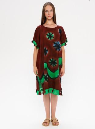 Brown - Multi - Crew neck - Unlined - Cotton - Dress