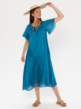 Blue - Turquoise - Fully Lined - Crew neck - Cotton - Abaya