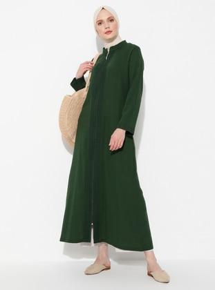 Green - Unlined - Crew neck -  - Abaya